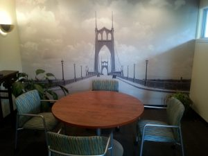 Photographic wallpaper hanging in Portland, Oregon by Blue Sky PDX