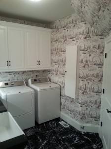 Completed laundry room wallpaper install in Portland, Oregon
