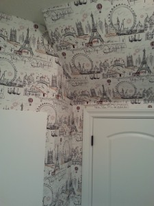 Complicated laundry room wallpaper install by Blue Sky PDX