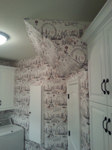 Parisian Themed Laundry Room Wallpaper Series by Blue Sky PDX