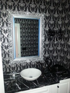 Victorian wallpaper pattern adorns this Portland, Oregon bathroom