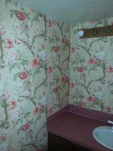 Classical flower bathroom wallpaper hanging job done right
