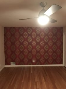 Custom red wallpaper hanging service provided by Blue Sky PDX in Portland, Oregon