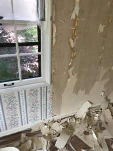 This is removing wallpaper in a bedroom